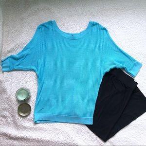 Express Aqua 3/4 Sleeve Shirt